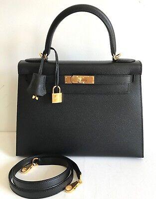 New Hermes Kelly 28 Black Epsom Gold Hardware Sellier 18yrs on eBay Trusted.