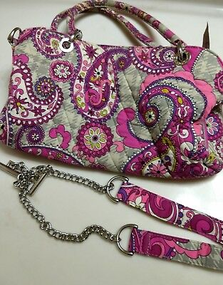 Additional Chain - VERA BRADLEY BAG PURSE WITH ADDITIONAL CHAIN STRAP PAISLEY PLAID PINK GREY.