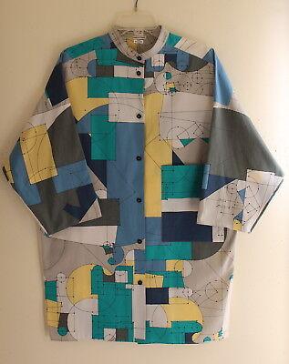 Hermes Brilliant Modernist Funky Futuristic Art-to-Wear Tunic Top Shirt 40 M/L