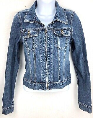 Abercrombie & Fitch Cropped Denim Cotton Jean Coat Dark Wash Women's Size XS
