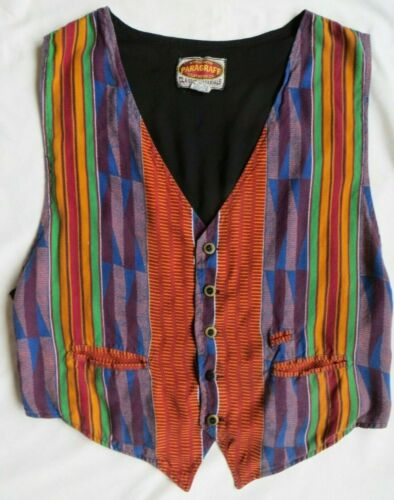 Paragraff Vest Vintage African Kente Print Cloth Orange Red Green Mens XL