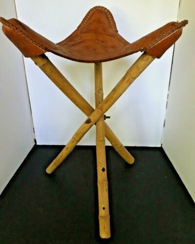 Vintage Hand Tooled Thick Leather Tripod Stool with Mexico Aztec Theme