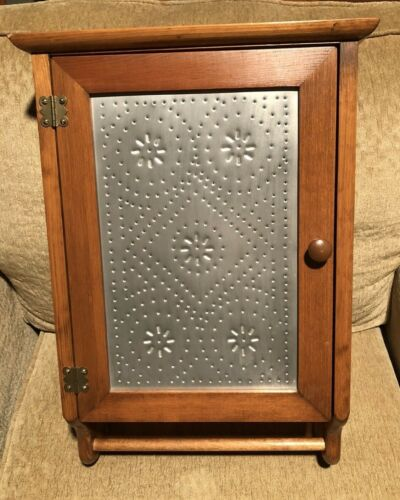 Vintage Oak Wood Wall Cabinet Tin Front Medicine Apothecary Cupboard 3 Shelf