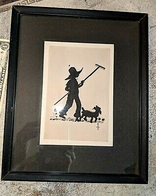 Gorgeous Antique Vintage Pen Ink Silhouette Boy Goat Framed Signed Ann Wagner