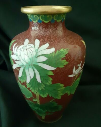 """Chinese Cloisonne ENAMEL BRASS Brown Floral Vase 9"""" tall Vintage & Collectible"""