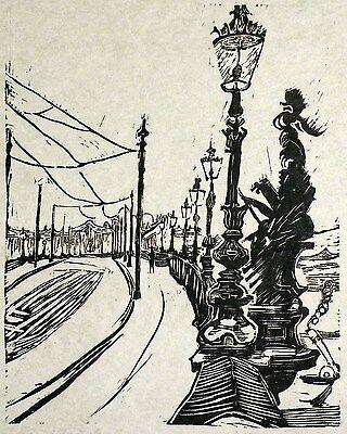 HANS KÖRNIG - Augustusbrücke in Dresden - Linolschnitt 1939