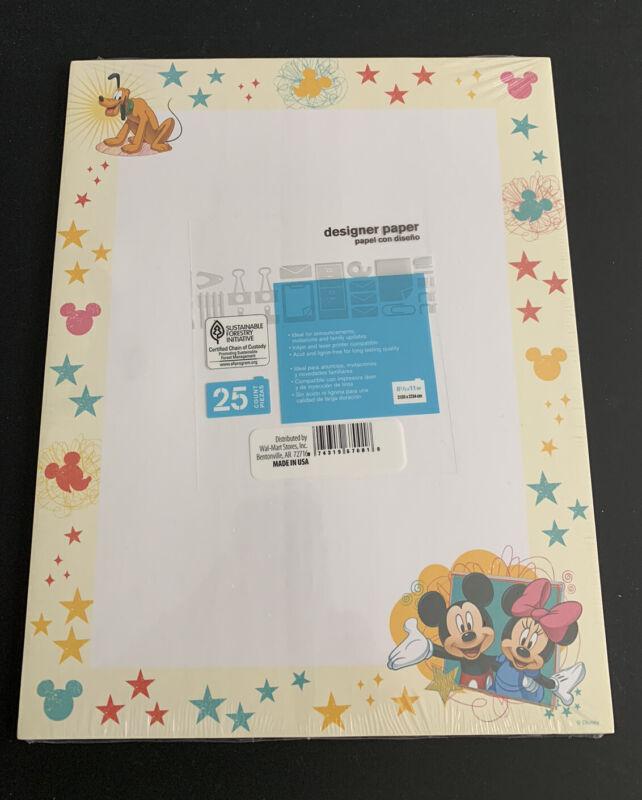 Disney Vintage Printer Paper 25 sheets Mickey Minnie Pluto new sealed