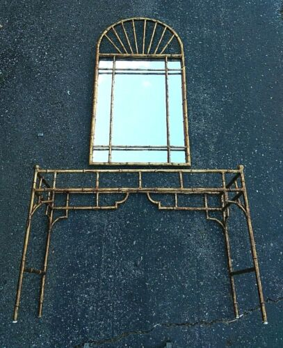 """Labarge Faux Bamboo  50"""" h Mirror Console 43""""Lngth Gilt Tole iron we can Deliver"""