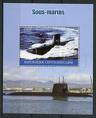 Central African Rep 2016 CTO Submarines 1v M/S Sous-marins Ships Boats Stamps