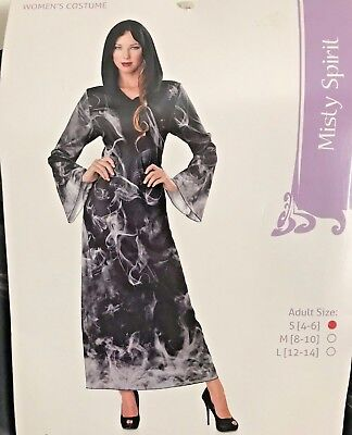 "Seasons Costumes ""Misty Spirit"" Black & Gray Hooded Gown. Size Adult  Small"