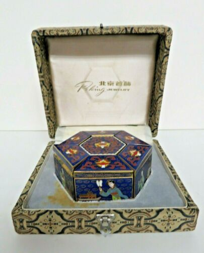 Peking Jewelry Cloisonne 6 Sided Puzzle Box