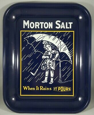 "Vtg Morton Salt Tray, Umbrella Girl, ""When It Rains It Pours"" - History on Back"