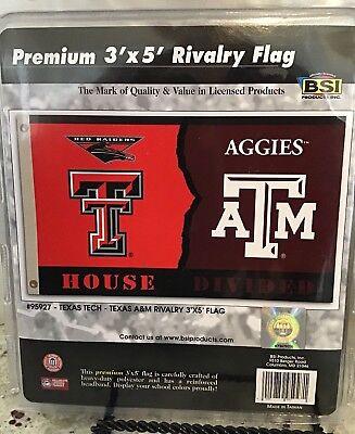 Texas Tech - Texas A & M Flag House Divided Rivalry Collegiate Banner, New