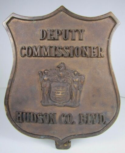 Old Bronze DEPUTY COMMISSIONER HUDSON CO BLVD Badge Plaque Advertising Sign