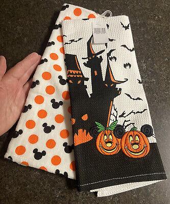 Disney Parks Kitchen Towels-Halloween Mickey & Minnie-one set of 2 towels