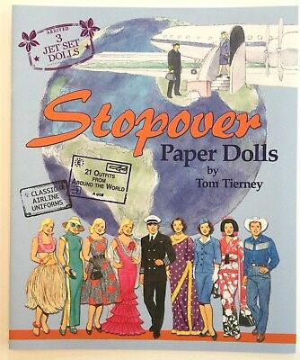 STOPOVER Paper Doll Book w/1950s Jet Set Dolls, Flight Uniforms & World Costumes