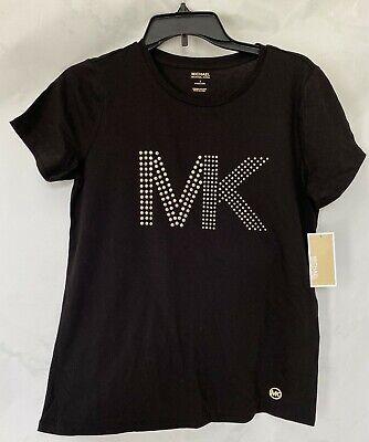 MK Michael Kors Women's T-shirt Top Size S Black Color Gold Stud Logo New Tags