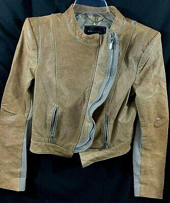 BCBG MAXAZRIA Leather Jacket Women's Medium Vintage Motorcycle MOTO Crop Brown
