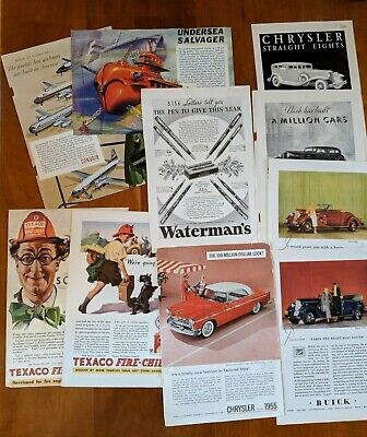 Vintage National Geographic Ads & Illustrations: Texaco, Cars, Planes, Sub, Pen
