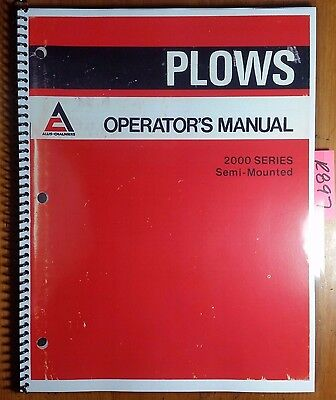 Allis-chalmers 2000 Series Semi-mounted Plow Owner Operators Manual 589350 976