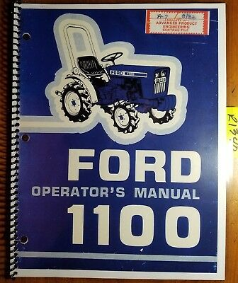 Ford 1100 Tractor 1979-83 Owners Operators Manual Se 3749a 42110012