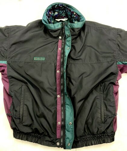 VTG 3 In 1 Columbia Bugaboo Men XL Black Green Purple Coat Ski Snowboard Camping