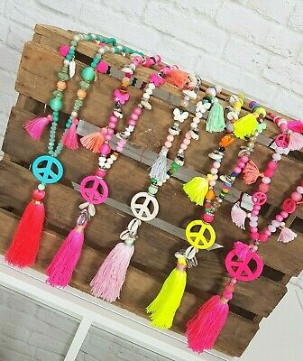 SKETTE PEACE QUASTEN PERLEN IBIZA FESTIVAL BOHO GELB PINK  (Hippie Peace Halskette)