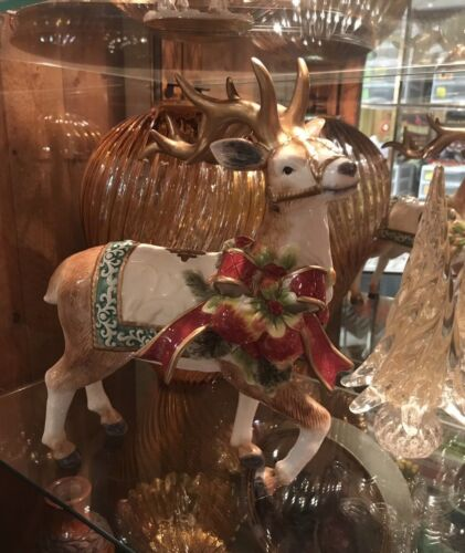 Gorgeous Christmas Glossy Reindeer Figurine Ribbon Blanket & Harness NIB Large