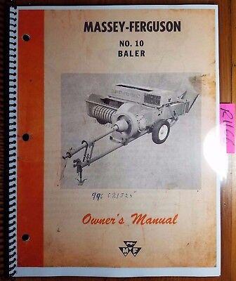 Massey Ferguson Mf 10 Mf10 Baler Owners Operators Manual 690 399 M3 262
