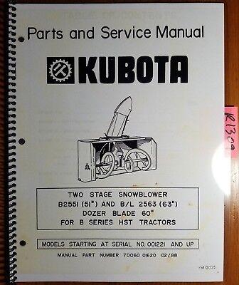 Kubota B2551 51 Bl2563 63 2 Two Stage Snowblower 1221- Parts Service Manual