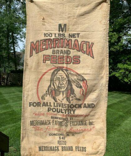 Antique Feeds Sack Bag Grain Farming Vintage Indian Great Graphics