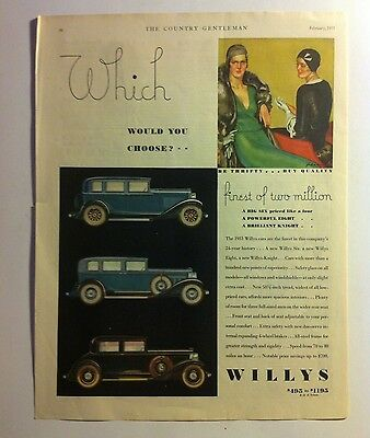 1931 Willys Knight ORIGINAL AD - Great Garage Decor