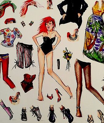 Cyndi Lauper ~ She's So Unusual ~ 30th Anniv - Vinyl Sticker Paper Doll Clings -