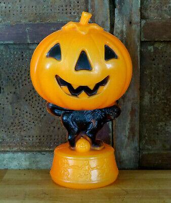 Halloween JACK O LANTERN Blow Mold Black Cat Skeletons Light Up Plastic Vintage