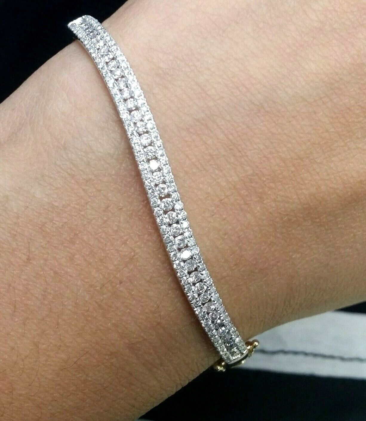 Deal! 1.75 CT Natural 100% Round Diamond Tennis Bangle Bracelet 14K  Gold