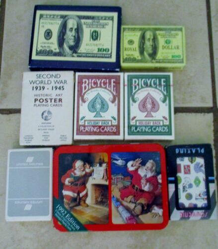 Lot Collectible Playing Card Decks Bicycle Holiday United Airline Coca Cola WWII