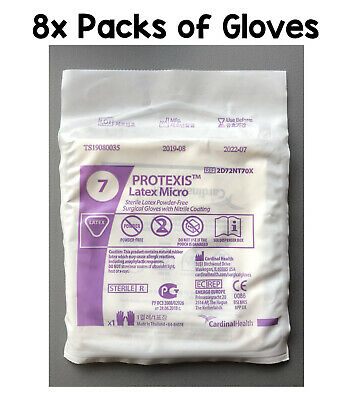 8x Cardinal Health Protexis Latex Micro Sterile Gloves With Nitrile Coating Sz 7