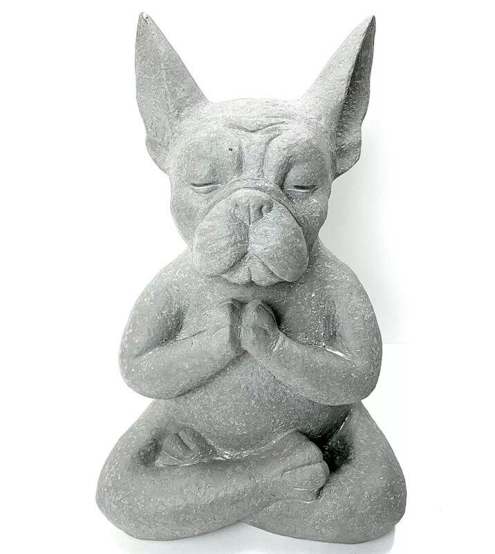 Modern French Bulldog Garden Statue Frenchie Doing Yoga Lotus Position Yoga Dog