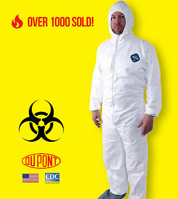 Dupont TY122S White Tyvek Disposable Coverall Bunny Suit Hood /& Boots 1-3XL