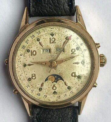 Nivada - Felsa 693 rare vintage swiss made triple calendar moonphase watch