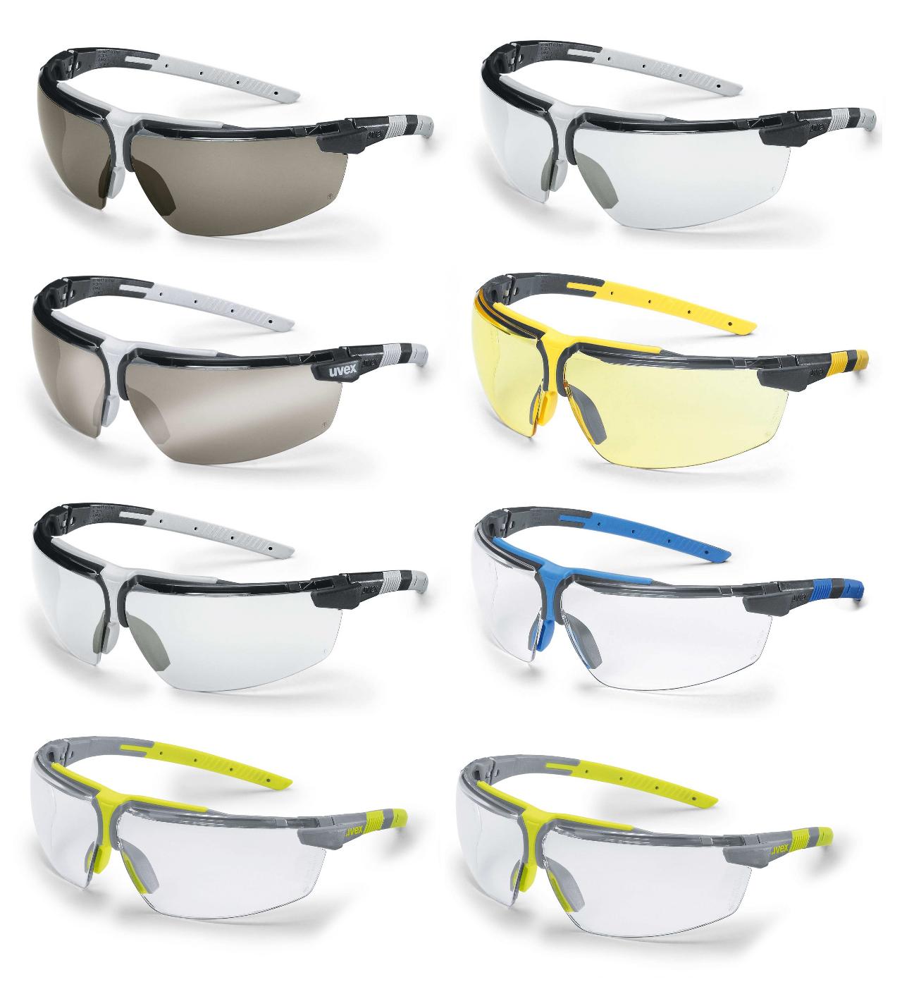Spectacles Clear Lens UVEX I-VO 9160065 Safety Glasses Blue Brown Frame