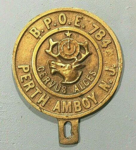 Vtg Metal Elks Fraternal B.P.O.E. 784 Lodge License Tag Plate Topper New Jersey