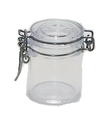 Clear Plastic Cylinders With Lids (12 Plastic Cylinder Jars with metal clamp lid closure canister 2.25