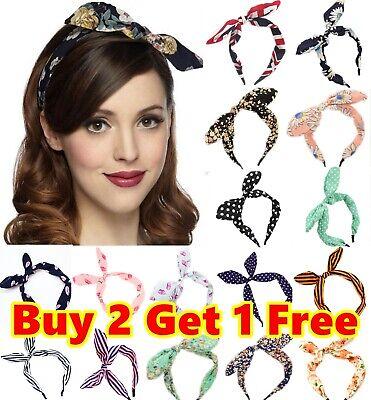 Vintage Wide Ribbon Bowknot Headband Hairband Bunny Ears Wire Bendy Bow Alice