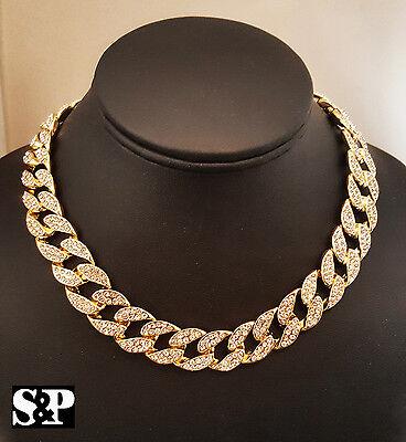"Hip Hop Men Quavo Gold PT Iced Out 15mm 16"" Miami Cuban Choker Chain Necklace"