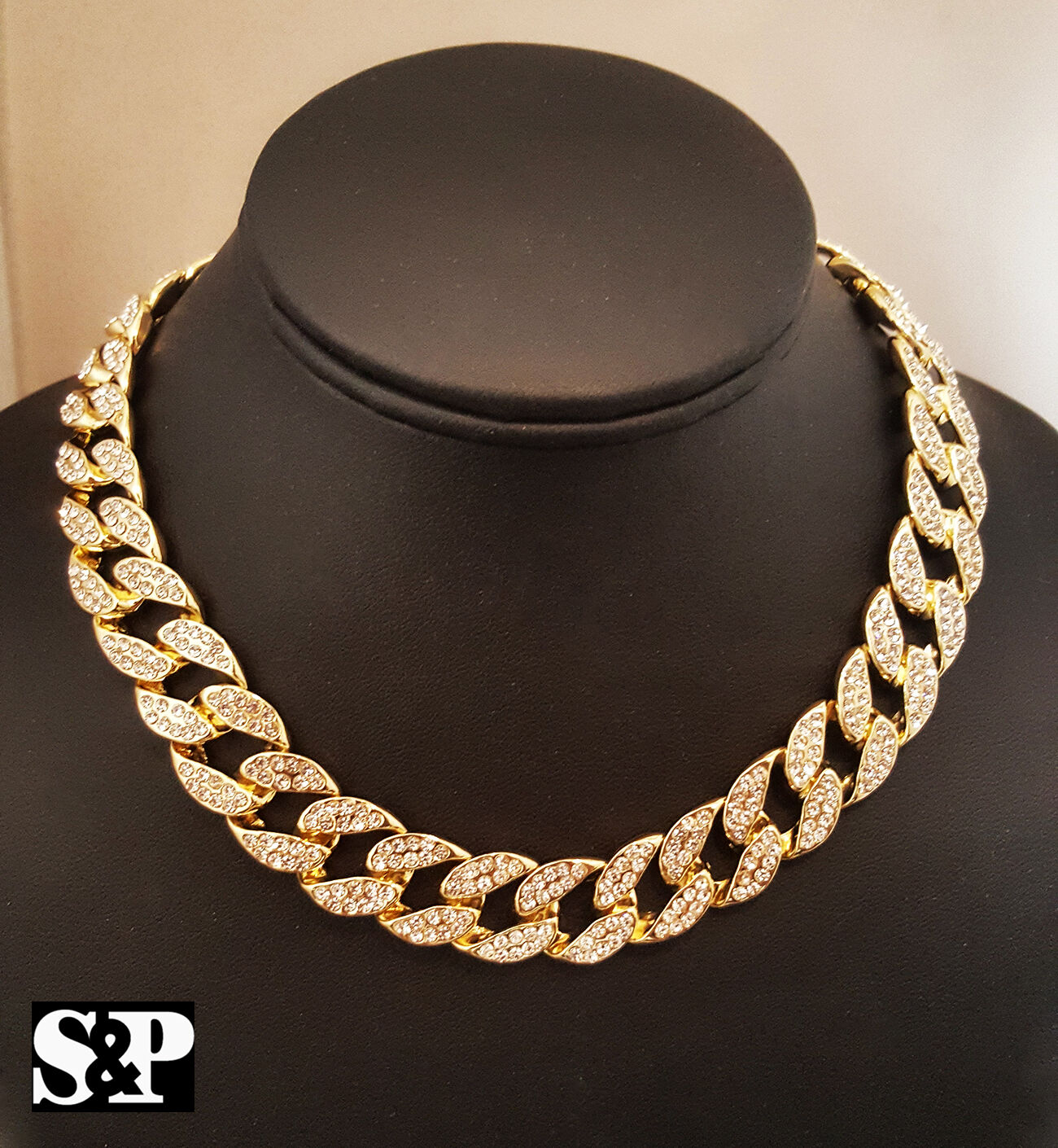 "Hip Hop Men Quavo Gold PT Iced 15mm 16"" Miami Cuban Choker"