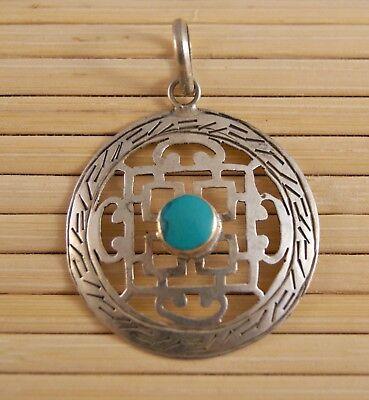 Anhänger Mandala mit Türkis ~ Silber ~ Nepal Tibet (673)