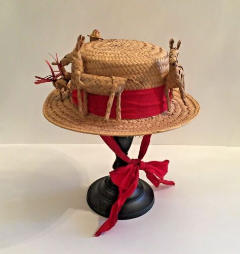 Vintage Woven Straw FOLK ART HAT 1960s-70s Mexico Donkeys Burros Man Red Ribbon