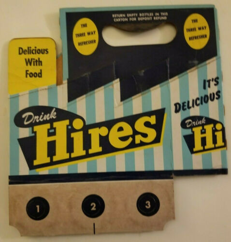 1950s Hires Root Beer cardboard Six Pack Soda Carrier Original Vintage B