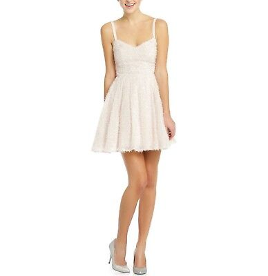 $288 French Connection GLITTER WHISPER Bow Fit & Flare Dress Snowball Size 0